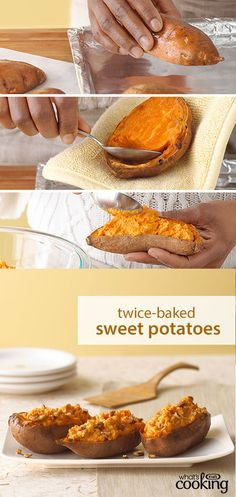 Twice-Baked Sweet Potatoes #recipe - Sweet potatoes so nice, we baked 'em twice! Just wait until you try this sweet potato version of a restaurant favourite. Cream cheese, cinnamon and pecans make 'em extra delicious. Tap or click photo for recipe.