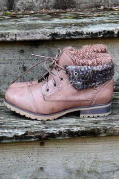 Mountain Trek Dark Taupe Sweater Ankle Boots