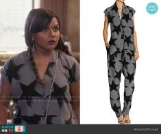 Mindy's grey star print jumpsuit on The Mindy Project.  Outfit Details: http://wornontv.net/52187/ #TheMindyProject