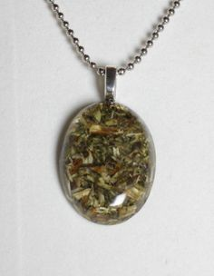Hyssop Herb in Resin Pendant with necklace for by GreyGyrl on Etsy, $14.00