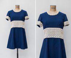 1970s Mini Dress  Vintage 70s Navy & Ivory by GoldenCraneVintage