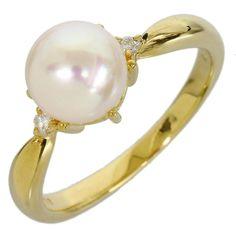 Tasaki 18K Yellow Gold Pink Pearl Diamond Ring US Size 5.75
