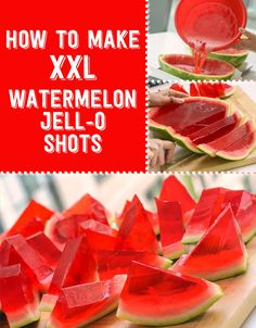 How To Make Extra Large Watermelon Jello Shots. Perfect idea for your summer fun. Made with only four ingredients. You just need a watermelon, unflavored gelatin, jello and vodka. Party Drinks, Fun Drinks, Cocktails, Beverages, Watermelon Jello Shots, Watermelon Jelly, Watermelon Hacks, Watermelon Cupcakes, Watermelon Slices