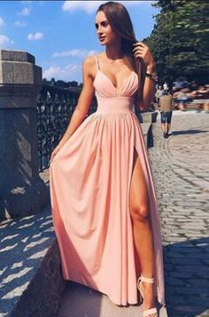 Spaghetti Strap V Neck Pink Prom Dress,Simple Long