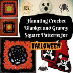 Are you thrilled by horror movies? If you like going into haunted houses and graveyards, then this collection of 13 Haunting Crochet Blanket and Granny Square Patterns for Halloween is especially for you! Granny Square Pattern Free, Granny Square Blanket, Granny Square Crochet Pattern, Crochet Squares, Crochet Granny, Granny Squares, Crochet Afghans, Crochet Blankets, Crochet Skull