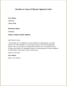 Letter of leave of absence leave of absence letter legal vacation or leave of absence approval letter download at httpwriteletter2 spiritdancerdesigns Images