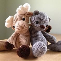 Moose + Bear + Lion amigurumi pattern by AuroraGurumi
