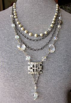 Art Deco Rhinestone Necklace Crystal Bead Necklace by jryendesigns, $75.00