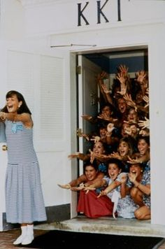 Unidentified Kappas cheer from their doorway during recruitment. Go Greek, Greek Life, Big Little Reveal, Kappa Kappa Gamma, Alpha Chi, Life Design, Aesthetic Vintage, Picture Wall, Arkansas