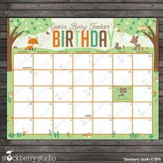 Woodland Baby Shower Guess the Due Date Calendar Printable - Birthday Prediction Calendar - Baby Shower Game by stockberrystudio on Etsy https://www.etsy.com/listing/240752765/woodland-baby-shower-guess-the-due-date