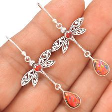 Dragonfly - Fire Opal 925 Silver Earrings Jewelry SE123180