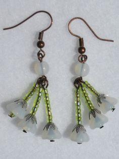 Summer Snowdrop earrings -Triple drop white flower