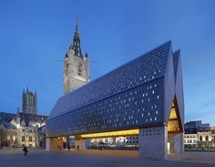 designed by Marie-José Van Hee, Robbrecht & Daem. The Marie-José Van Hee + Robbrecht & Daem designed Market Hall in Ghent reinstates the presence of old urban areas that had become. Amazing Buildings, Modern Buildings, Amazing Architecture, Contemporary Architecture, Interior Architecture, Creative Architecture, Futuristic Architecture, Building Structure, Building A House