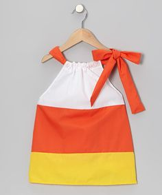 Take a look at this Orange & Yellow & White Candy Corn Swing Dress - Toddler & Girls by Petite & Posh on #zulily today!