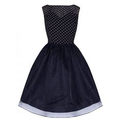 'Violetta' Delightfully Adorable 50's Inspired Navy Polka Swing Dress ($34) ❤ liked on Polyvore featuring dresses, navy, blue dress, blue skater skirt, sleeveless cocktail dress, sheer cocktail dress and holiday cocktail dresses