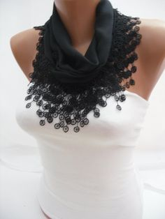Women Black Cotton Scarf  Headband  Cowl with Lace Edge  by DIDUCI, $13.50