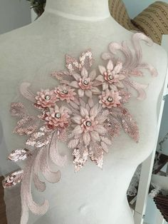 Exquisite Rhinestone Center Lace Applique in Purple Gold Pink Red , Bridal Gown Wedding Dress Applique , Floral Embroidered Lace bodice Zardozi Embroidery, Embroidery Dress, Ribbon Embroidery, Embroidery Hoop Crafts, Hand Embroidery Flowers, Embroidery Designs, Applique Wedding Dress, Applique Dress, Embroidered Lace