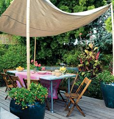 Ken Gutmaker Alfresco Dining Room  This roofless, 10-foot-square room uses translucent mosquito netting for walls. Bamboo poles slip into sl...