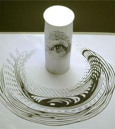 anamorphic art mirrors Eye