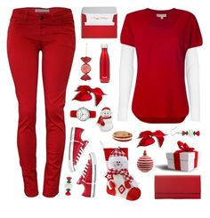 """red& white ts"" by tinkertot ❤ liked on Polyvore featuring MICHAEL Michael Kors, Converse, BillyTheTree, Decoris and S'well"