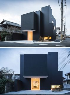 House Exterior Colors – 14 Modern Black Houses From Around The World | Simple black boxes make up the exterior of this modern Japanese home.