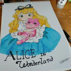 Alicia en el pais de las maravillas (Alice in wonderland) Chibi #Dibujo #Markers #draw #chibi #art