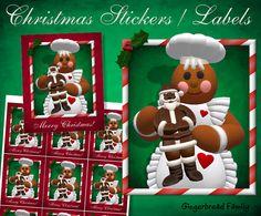 "Gingerbread Girl ""Chocolate Santa"" Stickers or Labels -  Digital Download by DinkyPrints"