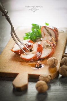 Chicken with walnuts and parma ham.