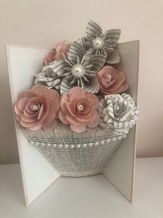Folded book art vase shape with paper flowers Folded book art vase shape with paper … Old Book Crafts, Book Page Crafts, Origami, Paper Art, Paper Crafts, Diy Crafts, Cut Paper, Book Folding Patterns Free, Pop Up Christmas Cards