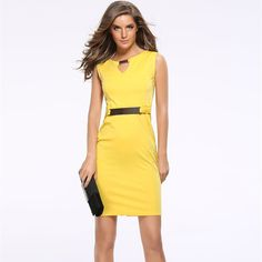 2017 Women's Sexy Cute Summer Dress Elegant Casual Pencil Patchwork Yellow, Red, Blue, Black Bodycon Girl's Office Dresses