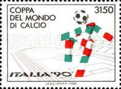 Francobollo emesso in vista dei Mondiali di calcio Italia '90 - Anno 1988