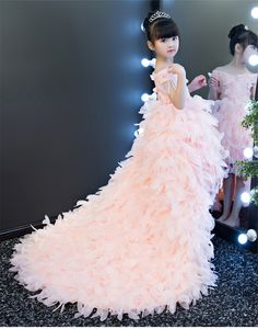 **Rush order please contact us ** Processing time business day after payment Little Girl Wedding Dresses, Pink Dresses For Kids, Little Girl Gowns, Princess Flower Girl Dresses, Girls Pageant Dresses, Gowns For Girls, Little Girl Dresses, Princess Dress Patterns, Kids Frocks Design