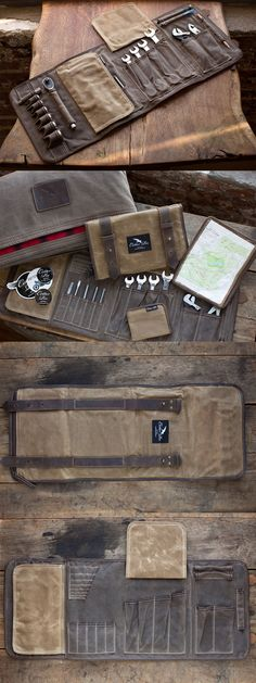 Tool roll for the truck # tool roll - leder - Motorcycle Kydex, Do It Yourself Camping, Tool Roll, Home Tools, Tool Organization, Leather Projects, Leather Tooling, Tool Kit, Leather Craft