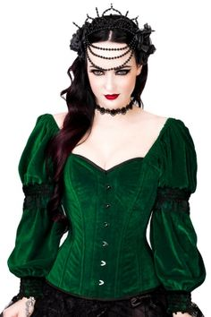 Gothic Green Velvet Overbust Corset with Attached Sleeves VG-19505