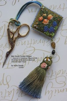 Bee House Scissor Keeper ~ featured in Inspirations Magazine Silk Ribbon E., House Scissor Keeper ~ featured in Inspirations Magazine Silk Ribbon Embroidery, Beadwork & Hand-dyed Tassel by Anne Davies ~~~Side 1 (side Embroidery Designs, Hand Embroidery Patterns, Embroidery Kits, Embroidery Stitches, Embroidery Books, Embroidery Scissors, Embroidery Tattoo, Embroidery Materials, Fabric Scissors