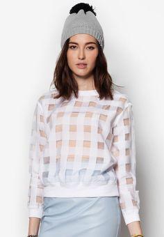 Buy Maxqullo White Checkered Sheer Top | ZALORA HK