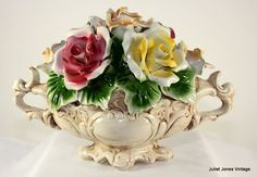 Cheerful Capo Di Monte Center Piece, Flower Basket from julietjonesvintage on Ruby Lane