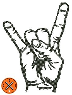 Rock Hand Cross Stitch Pattern