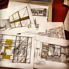 Hand made drawings of walk-in closets and modern and minimalist design Italian furniture. Irina Sokolova Guida/// 2012