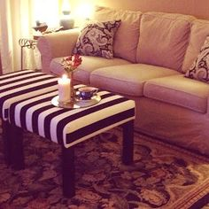 Ikea Lack side table upholstered ottomans...great idea! I have 2 that won't fit in our new bedroom- up cycle??? Yayyy