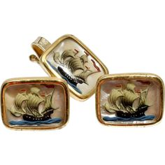 Essex Crystal Ships Cufflinks and Tie Clip Set Vintage Gentlemans Fashion from Catisfaction's Glass Gallery on RubyLane.com