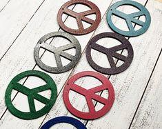 "Glitter Peace Sign - 4"" Rusty, Rustic Metal PEACE SYMBOL - Choose your color!"