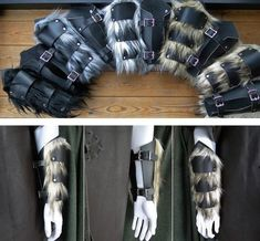 Leather & Fur Barbarian Bracers - Viking Warrior Faux Wolf Fur Arm Guards, Medieval, Renaissance /P/ (AB) Punk Outfits, Cosplay Outfits, Cosplay Costumes, Warrior Outfit, Warrior Costume, Barbarian Costume, Leather Braces, Viking Character, Apocalyptic Clothing