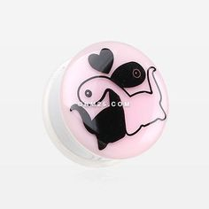 A Pair of Glow in the Dark Dino Love Single Flared Ear Gauge Plug