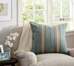 Minna Stripe Dhurrie Pillow Cover | Pottery Barn