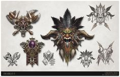 Diablo 3 crest designs Barbarian, Witch Doctor, Mage, Trent Kaniuga on ArtStation at https://www.artstation.com/artwork/ybKmR