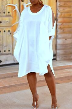 Ericdress Plus Size Casual Cold Shoulder Mid-Calf Round Neck White Dress Fashion girls, party dresses long dress for short Women, casual summer outfit ideas, party dresses Fashion Trends, Latest Fashion # Denim Maxi Dress, Striped Shirt Dress, Plus Size Mini Dresses, Plus Size Outfits, Ladies Day Dresses, Maxi Robes, Plus Size Kleidung, Loose Shirts, Plus Size Casual