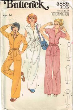 Vintage 1970s Semi fitted Jumpsuit with Pointed Collar Butterick 5889 Sewing Pattern by PeoplePackages