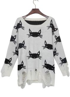 White Black Cat Print Shredded Distressed Sweater #SheInside