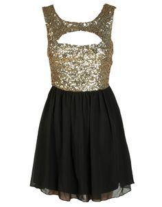 Black And Gold Dresses | ... Prom dresses Gold Contrast Sequin Embellished Black Chiffon Dress